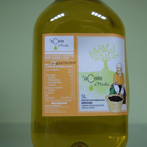 garrafa 5 litros el aceite de marta aberquina